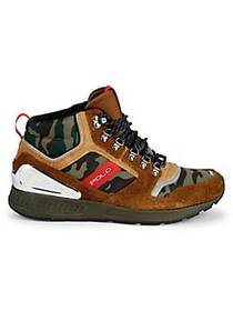 Polo Ralph Lauren Suede & Mesh Camo Sneakers BROWN