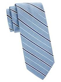 Brooks Brothers Ribbed Stripe Silk-Blend Tie BLUE