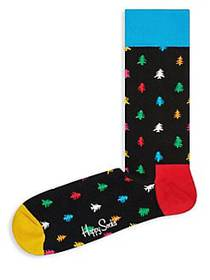 Happy Socks Tree Crew Socks BLACK