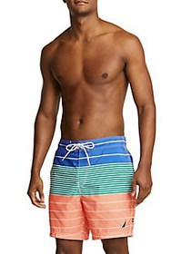 Nautica Variegated Stripe Swim Trunks LIVING CORAL