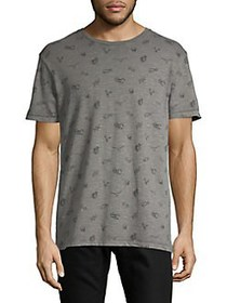 Lucky Brand Allover Graphic Burnout Tee PEWTER