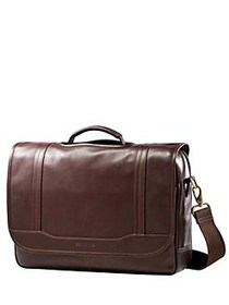 Samsonite Columbian Leather Flapover Briefcase BRO