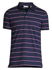 Calvin Klein Striped Liquid Cotton Polo Shirt NAVY