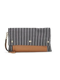 Vince Camuto Loula Convertible Striped Clutch BLAC