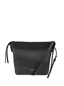 T Tahari Sienna Leather Bucket Crossbody BLACK
