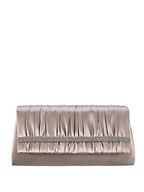 Nina Locklin Pleated Crystal Trim Clutch CHAMPAGNE