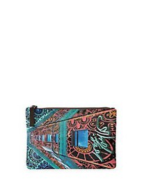 VIDA Lord & Taylor Heritage Printed Canvas Pouch B