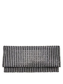 Nina Chicago Rhinestone Stripe Clutch BLACK WHITE