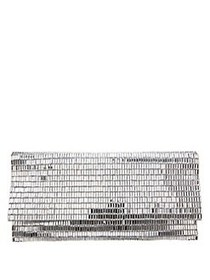 Nina Metallic Beaded Clutch SILVER