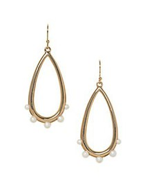Vince Camuto Goldtone and Faux Pearl Teardrop Earr