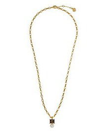 Vince Camuto Goldtone and Glass Stone Pendant Neck