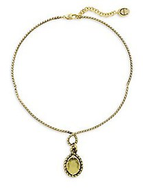 Etienne Aigner Goldtone and Glass Quartz Pendant W