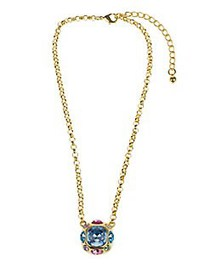 Kenneth Jay Lane Faceted Pendant Necklace BLUE