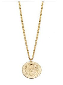 Kenneth Jay Lane Gold Coin Pendant Necklace GOLD