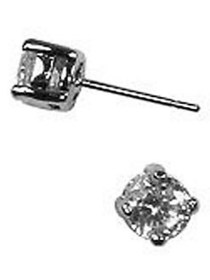 Givenchy Silvertone and Cubic Zirconia Stud Earrin