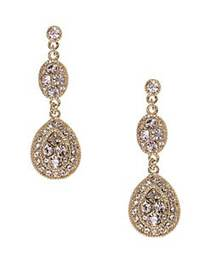 Givenchy Linear Crystal Drop Earrings GOLD