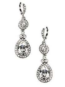 Givenchy Silver-Tone Crystal Drop Earrings SILVER