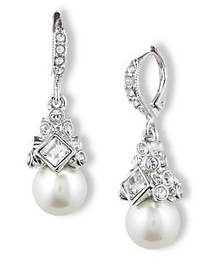 Givenchy Crystal and Glass Pearl Drop Earrings SIL