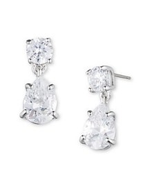 Givenchy Cubic Zirconia Pear Drop Earrings SILVER