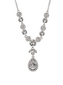 Givenchy Y-Shaped Crystal Necklace SILVER