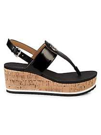 Tommy Hilfiger Gunther Cork Wedge Sandals BLACK
