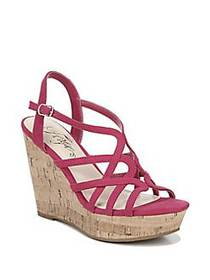 Fergie Villa Crisscross Wedge Sandals AZAL PINK FA