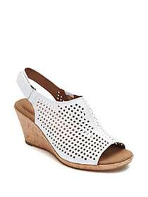 Rockport Briah Leather Wedge Sandals WHITE