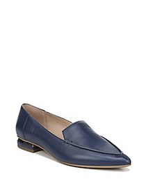 Franco Sarto Starland Pointed Leather Flats NAVY