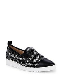 Karl Lagerfeld Paris Leather-Trimmed Canvas Loafer