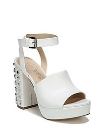 Fergie Jolie Block Heel Leather Platform Sandals W