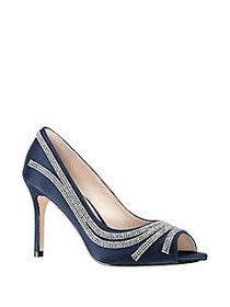 Nina Rylinn Embellished Peep-Toe Pumps NEW NAVY