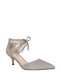 Nina Talley Metallic Cutout Kitten Pumps STEEL
