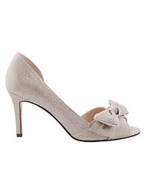 Nina Forbes2 Peep-Toe Bow Pumps ROYAL SILVER