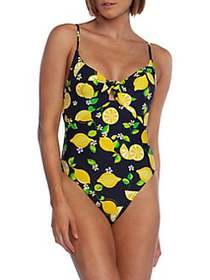 Trina Turk Lemon Love Printed One-Piece Swimsuit M