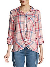 C&C California Knot-Hem Plaid Shirt ROSE
