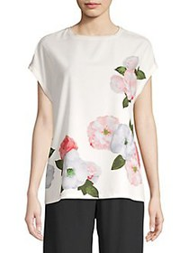 Joan Vass Floral Drop Shoulder Blouse BRIGHT WHITE