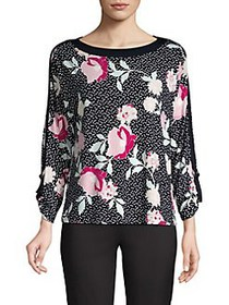 JONES NEW YORK Floral-Print Dotted Top CARNATION