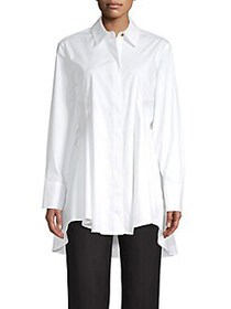 Donna Karan High-Low Flare Button Front Shirt WHIT