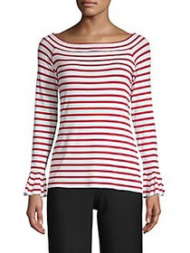 Bailey 44 Striped Long-Sleeve Top RED