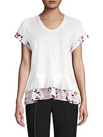 Donna Karan Cotton-Blend Peplum Top WHITE