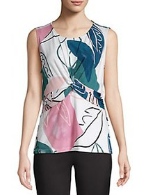 Donna Karan Floral-Print Twisted Blouse MALACHITE