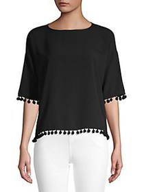 French Connection Pom-Pom Short-Sleeve Tee BLACK