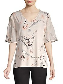 Calvin Klein V-Neck Floral Knit Top BLUSH FLORAL