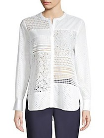French Connection Celeste Button Front Lace Shirt