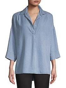 French Connection Oversize Pinstripe Tunic INDIGO