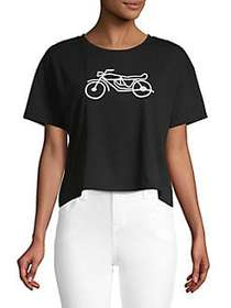 French Connection Graphic Cotton Cropped Top BLACK