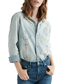 Lucky Brand Embroidered Chambray Button Front Shir