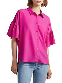 French Connection Flutter-Sleeve Button-Down Shirt