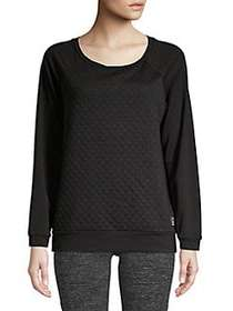 Sam Edelman Quilted Long Sleeve Top BLACK