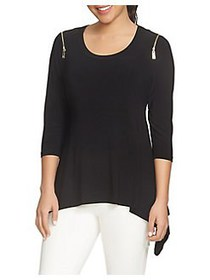 Chaus Zip Shoulder Sharkbite Top RICH BLACK